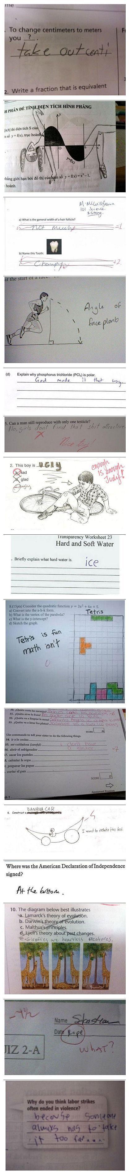 Nogle sjove eksamen svar!