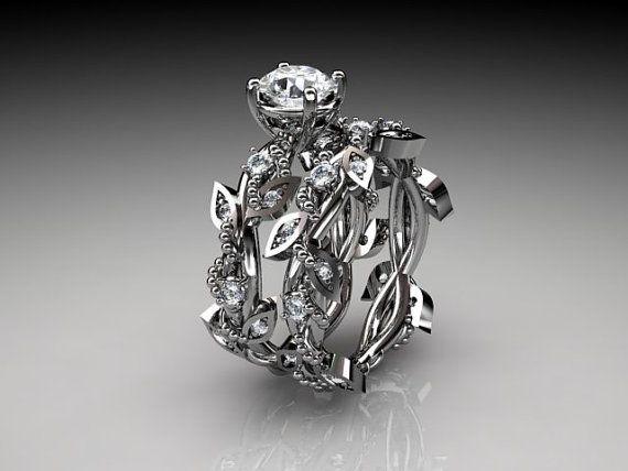 14k  white gold diamond leaf and vine wedding ring,engagement ring,engagement set ADLR59S