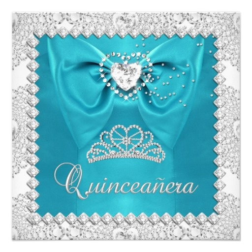 Teal Silver White Quinceanera 15th Birthday Party Card ...