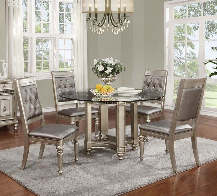 "Shop the 54"" Coaster 106470 Danette Metallic Platinum Round Glass Dining Table with 4 chairs at great price."