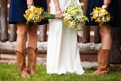 Blue Dresses, Yellow Flowers, and Cowboy Boots....Perfect!