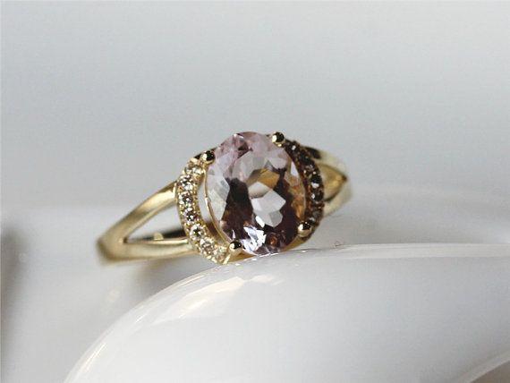 14K amarillo RoseGold Oval Morganita rosa corte anillo por ByLaris