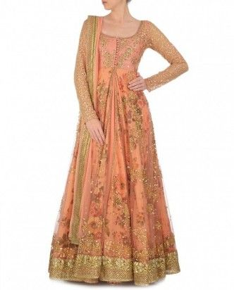 Party wear full length orange anarkali with gold cut work border