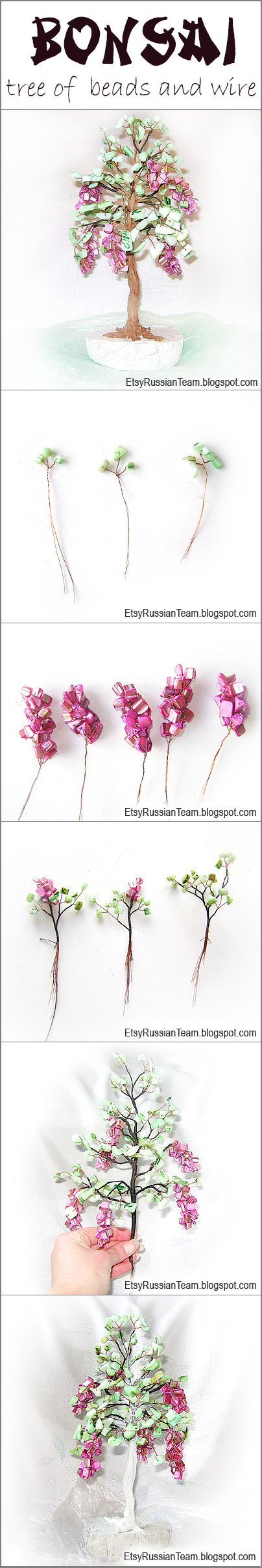 Bonsai tree of mother-of-pearl beads and wire DIY tutorial  Click for step by step instructions http://etsyrussianteam.blogspot.co.il/2013/01/tutorial-of-bonsai-tree-of-beads-and.html