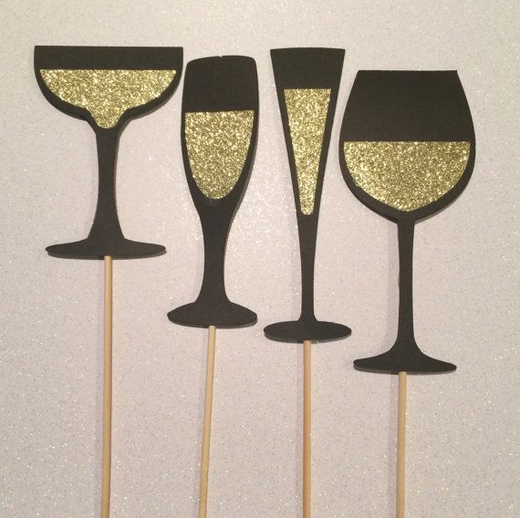 Set of 4 Photo booth Champagne Glasses  - Wedding, Bridal Showers, Parties, Birthday Party, Glitter Photo Booth Props on Etsy, $6.00