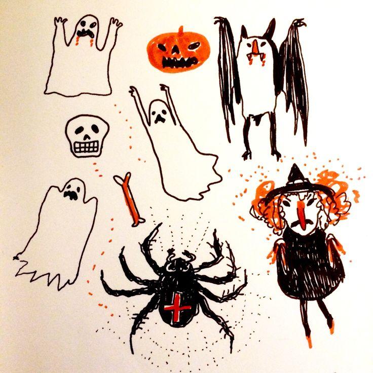 Scary sketch by Marie Åhfeldt, Mås Illustra