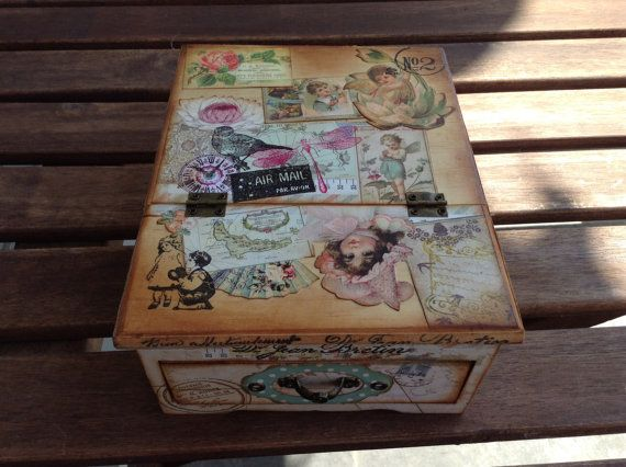 Wooden jewelry box with mirror titled Vintage por IvanTellez, $27.00