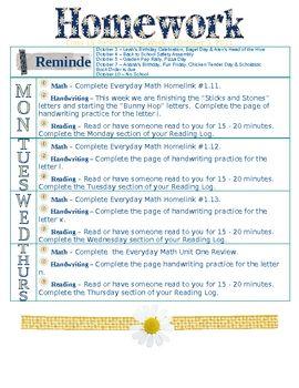 homework spreadsheet template