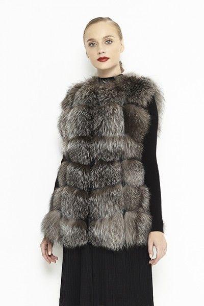 Silver fox fur vest for women