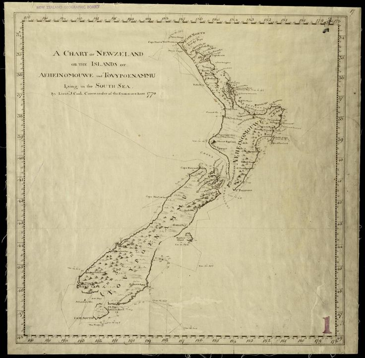 Captain Cook's first map of New Zealand 1770