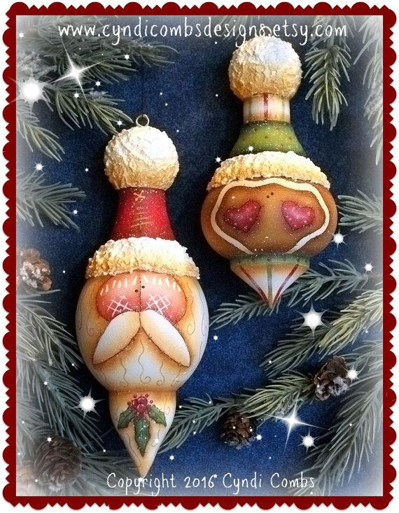 CC191 Santa and Gingerbread Turned Ornaments by CyndiCombsDesigns