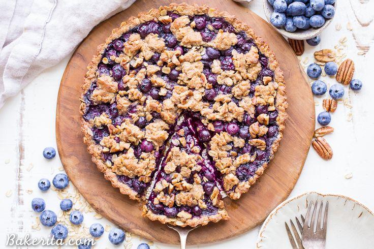 Blueberry Crisp Tart with Oatmeal Crust (Gluten Free + Vegan) - Bakerita