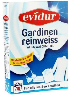 Proszek do prania firan Evidur jest specjalnie stworzony, aby móc pielęgnować śnieżną biel Twoich firanek. Innowacyjne składniki proszku niwelują nieprzyjemne zapachy, delikatnie odświeżając firany i nadając im piękny zapach, który długo unosi się w domu.