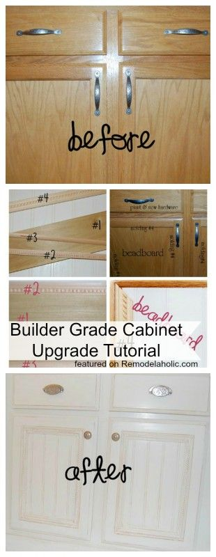 DIY Builder Grade Cabinet Updated Tutorial featured on Remodelaholic.com