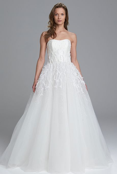 "Brides.com: . ""Monroe"" strapless silk magnolia ball gown with textured hand beaded tulle skirt, Kenneth Pool"
