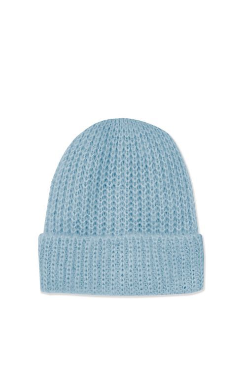 A girly take on a tomboy style, this cool turn up beanie comes in a pretty pastel blue hue. #Topshop