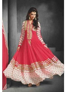 georgette rouge costume Anarkali