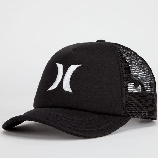 Hurley One & Only Womens Trucker Hat ($20) ❤ liked on Polyvore featuring accessories, hats, black, adjustable snapback hats, adjustable hats, black trucker hat, mesh back hats and snapback trucker hats