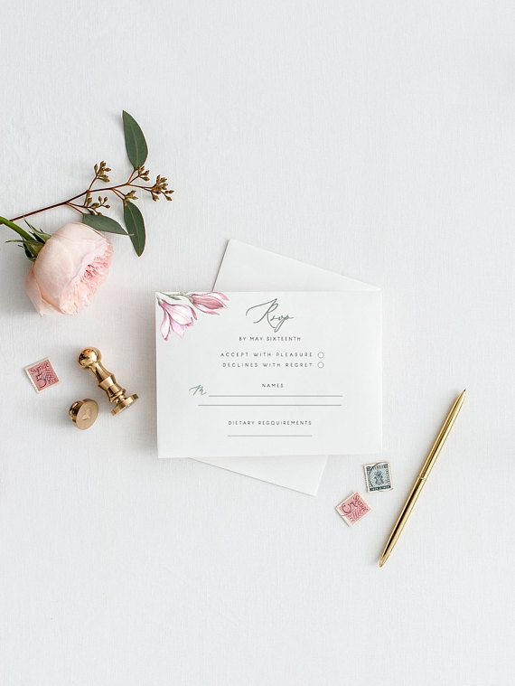 RSVP Wedding Response Card Magnolia Rsvp Cards Printable Rsvp