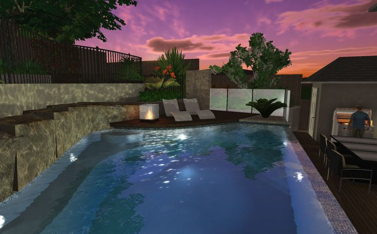 Pool cut into rock face w/ timber sun lounge deck overlooking pool, tiled wet edge to lower entertaining deck area.