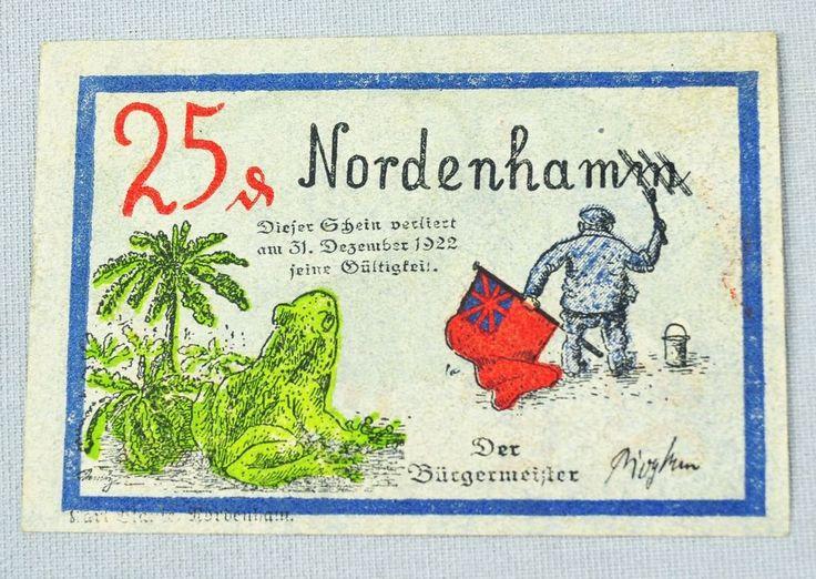 NOTGELD NORDENHAM NORDENHAMM 25 PFENNIG 1922 SCHLESWIG HOLSTEIN BANKNOTE