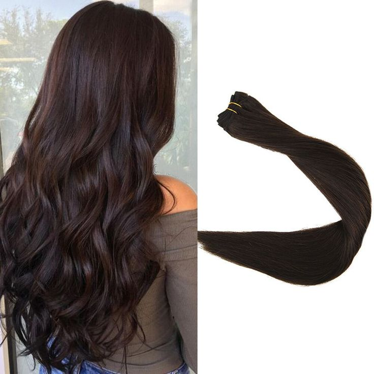 Details about Full Shine Hair Weft Thick Double Weft Hair Extension Color #2 Dark Brown 14-24″