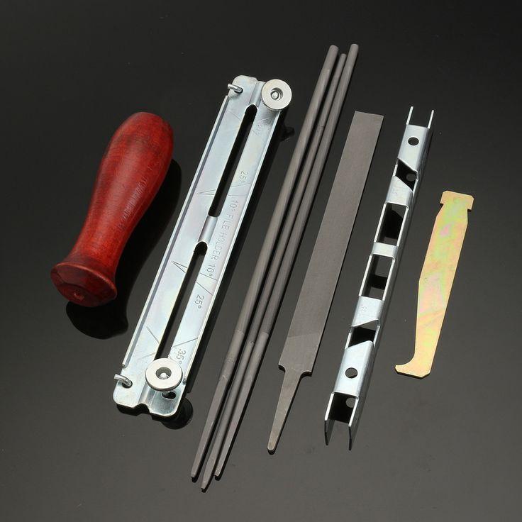 8pcs sierra de cadena afiladora Kit de archivo de profundidad indicador de archivo de la ranura ranurador limpiador mango de madera