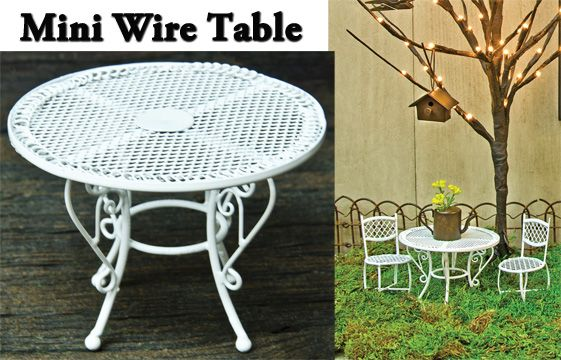 Mini White Wire Table - GREAT FOR A FAIRY GARDEN