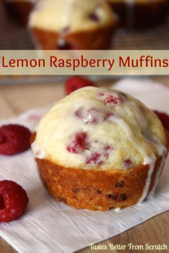 Lemon Raspberry Muffins recipe from TastesBetterFromScratch.com