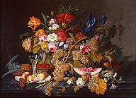 Severin Roesen (American, ca. 1815–ca. 1872)  Still Life, ca. 1852  Oil on canvas  31 1/2 x 43 in. (80.01 x 109.22 cm)  Gift of Anita Vogel Hinrichs in memory of Ferdinand Hinrichs M1988.133   Photo credit Dedra Walls