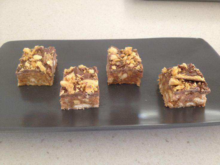 Chocolate Crunchie Honeycomb Slice - Bake Play Smile