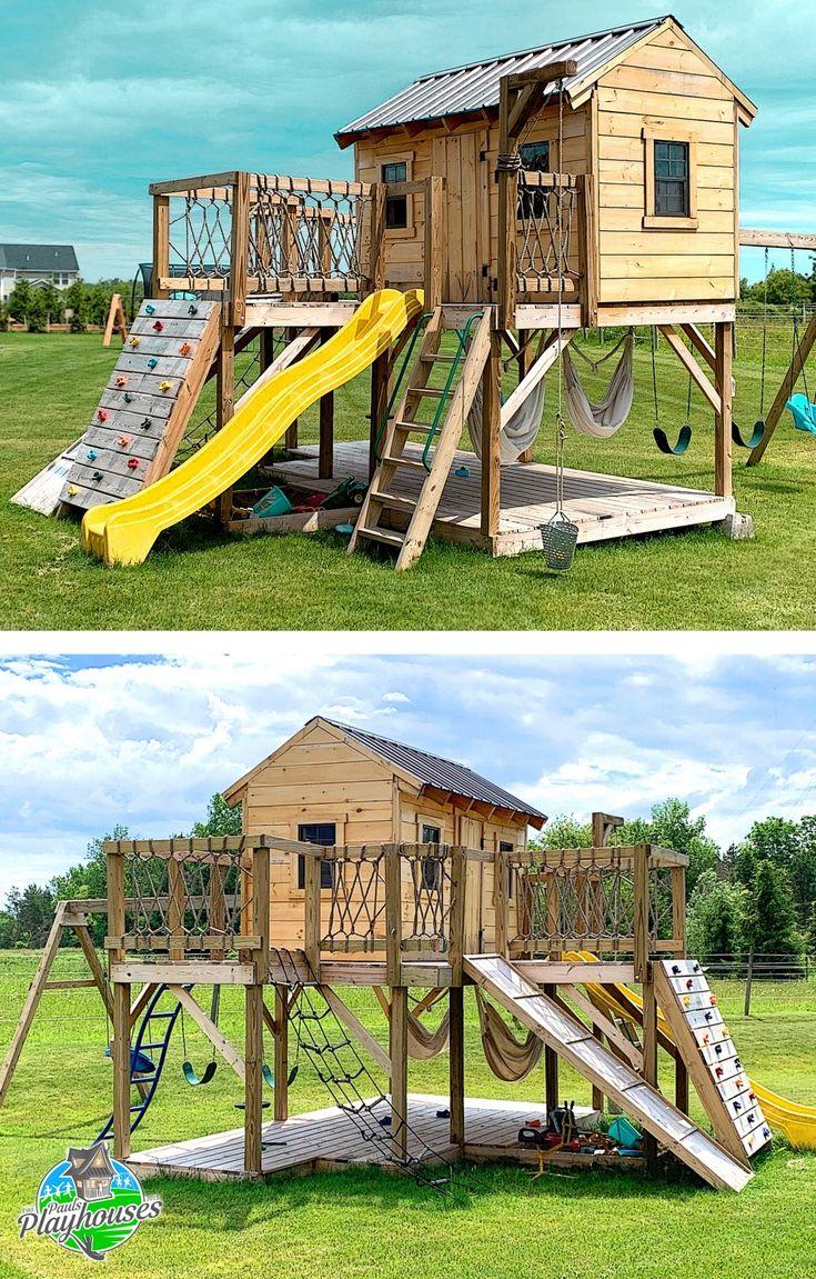 Playground Playhouse Plan 2‑sizes In 2020 Backyard