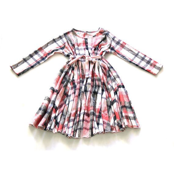 Checkers print Pink Blue & White Young girls dress by nukile
