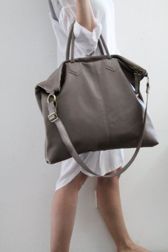 Grey Leather Over Size Tote Bag / Gray Shoulder by LadyBirdesign