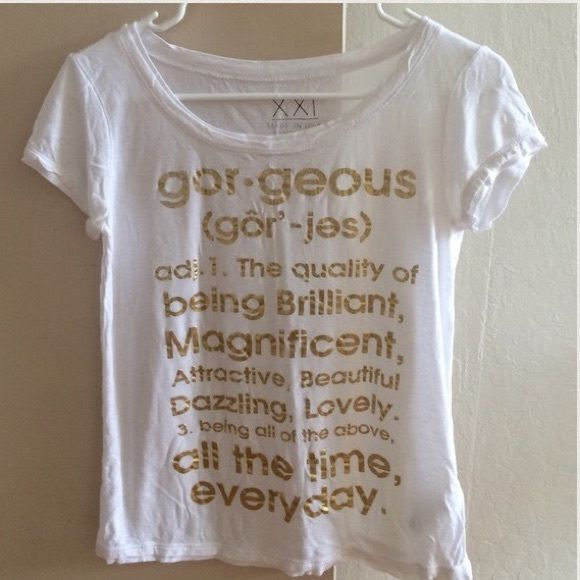 "Forever 21 white & gold ""gorgeous"" definition top No flaws. FREE BRANDY MELVILLE CARD WITH PURCHASE UPON REQUEST. PLEASE GO TO THE LISTING AND READ THE DESCRIPTION Forever 21 Tops Tees - Short Sleeve"
