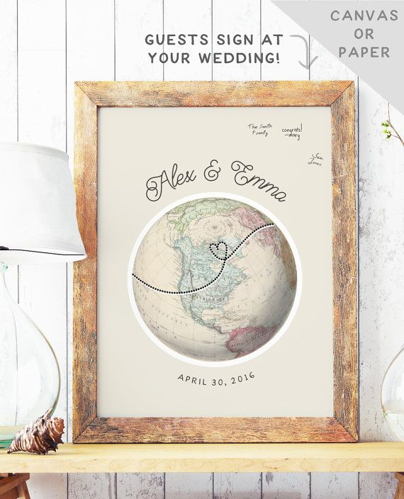 Globe Guest Book Alternative - Travel Theme Wedding - Unique Guest Book Idea - Wedding Guest Sign In - Canvas Guest Book - NORTH AMERICA