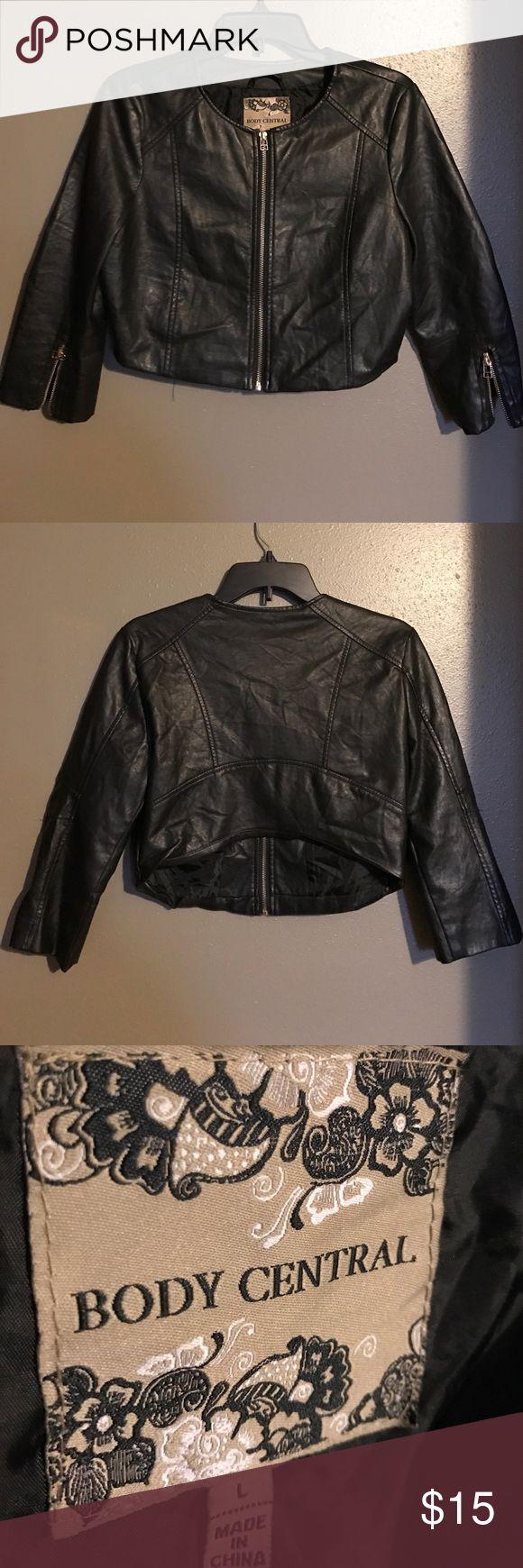 Faux short leather jacket Black faux short leather jacket. Lightly worn. Body Central Jackets & Coats