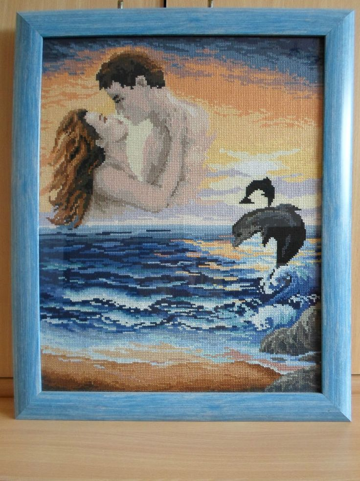 RIOLIS COUNTED CROSS STITCH - ROMEO AND JULIET ON THE BEACH (22 x 18 inch)