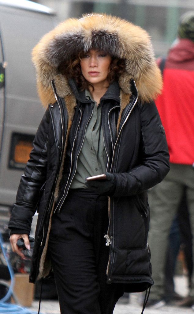 Jennifer Lopez from The Big Picture: Today's Hot Pics  The Shades of Blue star enlists a fur-trimmed coat to stay cozy on set in New York.