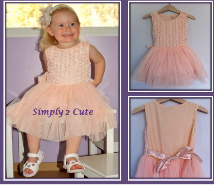 'ALICE' - Apricot tutu dress. Mini flowers on a cotton bodice with a lined chiffon tutu skirt and satin ribbon at waist. Available in sizes 18 months - 6 years.