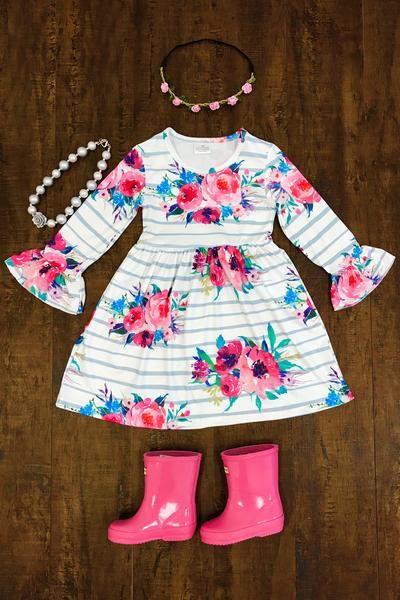 Jasmine Floral Bell Sleeve Dress