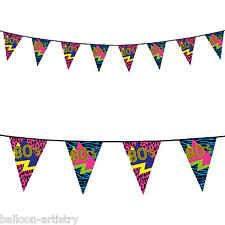 6m Totally 80's Disco Retro Birthday Party Pennant Banner Bunting Decoration