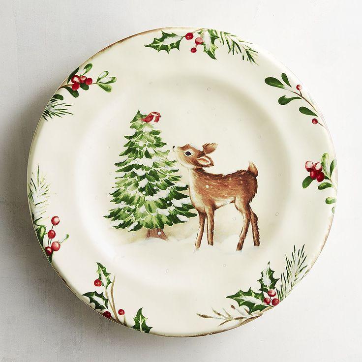 Winter S Wonder Deer Salad Plate Pier 1 Imports