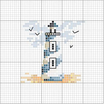Schema punto croce Faro blu