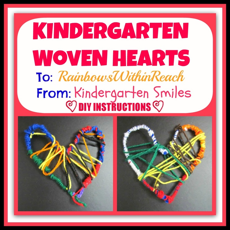 Crafted Woven Hearts by Kindergarten Children at Kindergarten Smiles as a gift to RainbowsWithinReach (***Get the simple DIY instructions in the article)