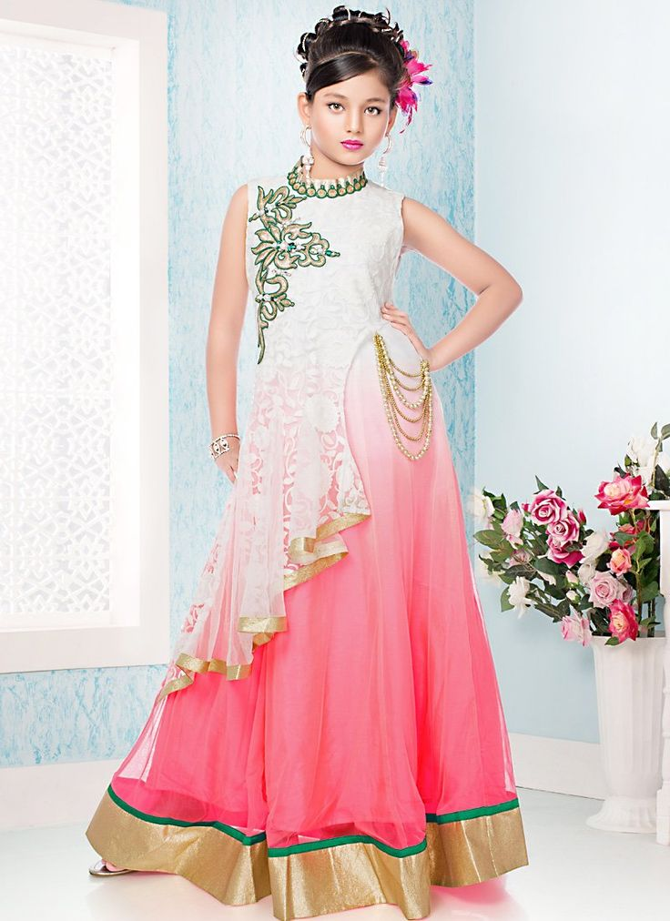 Lovely Net Sequins & Lace work Kids Dresses For Girl's In Pink White shade - GYXB074401A4B   Indian Trendz