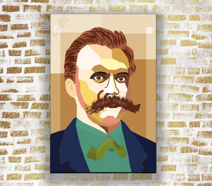 Nietzsche Portrait – Druck auf Leinwand – Bilder für Zuhause oder Büro -Auspacken und Aufhängen! personalisiert Pop Art Geschenk Literatur – Icons Of The Word