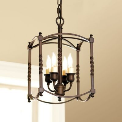 Carriage House Chandelier - Squared Cage - Four Candle Arms - 18th Century Carriage Chandelier