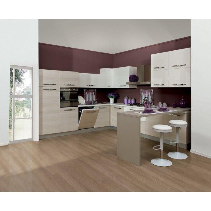Cucina componibile in rovere chiaro e bianco lucido - Cucine complete - Cucina