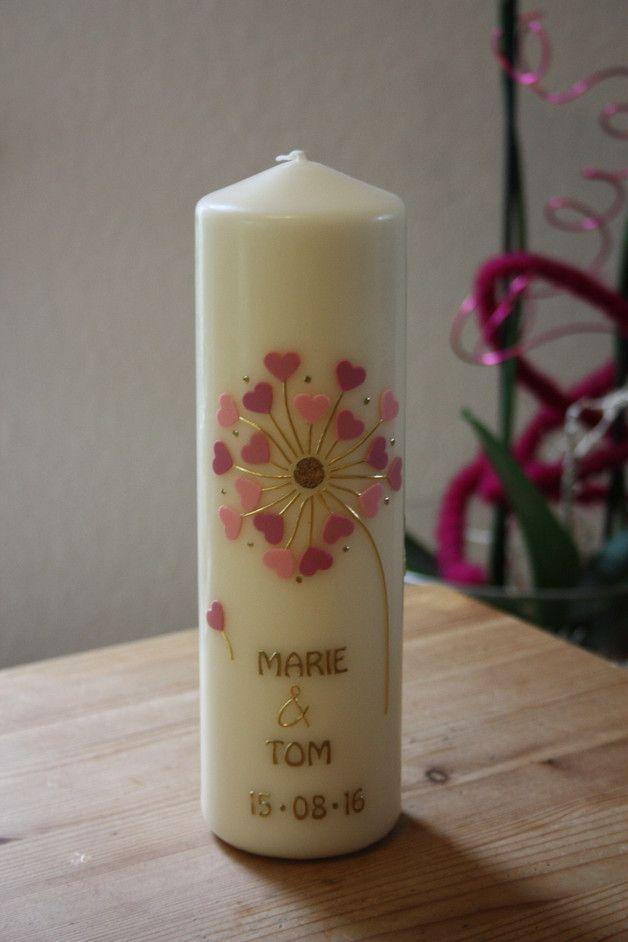 Hochzeitskerzen & Beleuchtung - Hochzeitskerze, Traukerze Pusteblume rosa Töne - ein Designerstück von Lichtblicke-Kerzen bei DaWanda